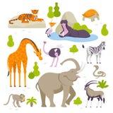 Άγρια ζώα στο σύνολο ζωολογικών κήπων διανυσματικών απεικονίσεων στο επίπεδο σχέδιο που απομονώνεται στο άσπρο υπόβαθρο Οι πράσιν διανυσματική απεικόνιση
