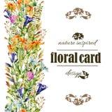 Άγρια κάρτα λουλουδιών Watercolor διανυσματική απεικόνιση