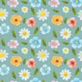 Άγρια καθορισμένη απεικόνιση σχεδίων watercolor λουλουδιών άνευ ραφής διανυσματική απεικόνιση