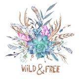 Άγρια και ελεύθερη απεικόνιση Boho Watercolor διανυσματική απεικόνιση