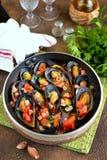 Άγρια μύδια στα κοχύλια με τις ντομάτες, τα κρεμμύδια, το μπέϊκον, το σκόρδο και το μαϊντανό στο άσπρο κρασί στοκ εικόνες