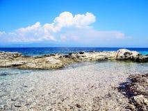 Άγρια παραλία, δύσκολη ακτή με το aquamarine, μπλε, τυρκουάζ wat Στοκ φωτογραφία με δικαίωμα ελεύθερης χρήσης