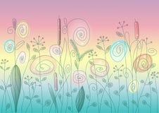 Άγρια περίληψη λουλουδιών και χορταριών Στοκ Φωτογραφία