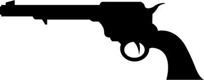 Άγρια σκιαγραφία πυροβόλων όπλων δυτικών κάουμποϋ Στοκ εικόνα με δικαίωμα ελεύθερης χρήσης
