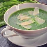 Άγρια σούπα σκόρδου με την παρμεζάνα Στοκ Φωτογραφία