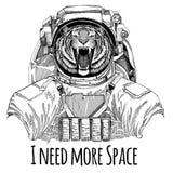 Άγρια τίγρη που φορά τη διαστημική Spaceman αστροναυτών άγριων ζώων κοστουμιών συρμένη χέρι απεικόνιση εξερεύνησης γαλαξιών για τ Στοκ Εικόνες