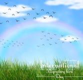 Άγρια φύση με την πράσινη χλόη και τα πετώντας πουλιά διανυσματική απεικόνιση