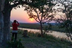 Άγρια φύση προσοχής τουριστών από διοφθαλμικό στον ποταμό Chobe στην ανατολή Εθνικό πάρκο Chobe, διάσημα επιφύλαξη wildlilfe και  στοκ εικόνα