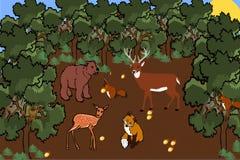 Άγρια φύση σε ένα δρύινο δάσος διανυσματική απεικόνιση