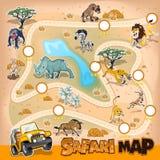 Άγρια φύση χαρτών σαφάρι της Αφρικής Στοκ Εικόνες