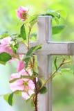 Άγριος αυξήθηκε περιπλεγμένος γύρω από έναν σταυρό Στοκ Εικόνα