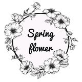 Άγριος αυξήθηκε σχέδιο και σκίτσο λουλουδιών πλαισίων λουλουδιών απεικόνιση αποθεμάτων