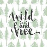 Άγριος και ελεύθερος - γράφοντας στα δέντρα το άνευ ραφής υπόβαθρο Συρμένο χέρι διανυσματικό σχέδιο απεικόνιση αποθεμάτων