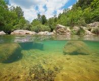 Άγριος ποταμός και υποβρύχια διασπασμένη άποψη Ισπανία Στοκ φωτογραφία με δικαίωμα ελεύθερης χρήσης