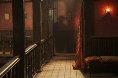 Άγριο ανώτερο πάτωμα αιθουσών sest με ένα man& x27 σκιά του s Στοκ φωτογραφία με δικαίωμα ελεύθερης χρήσης