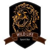 Άγριο λογότυπο ζωής λιονταριών Στοκ Εικόνες