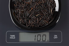 Άγριο ρύζι στην κλίμακα κουζινών Στοκ φωτογραφίες με δικαίωμα ελεύθερης χρήσης