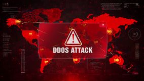 Άγρυπνη επίθεση προειδοποίησης επίθεσης DDOS στον παγκόσμιο χάρτη οθόνης διανυσματική απεικόνιση