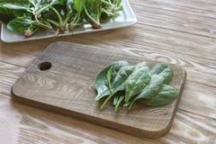άδεια σπανακιού στους τέμνοντες πίνακες, πιάτο του σπανακιού στο υπόβαθρο Έννοια προετοιμασιών γεύματος Στοκ εικόνες με δικαίωμα ελεύθερης χρήσης