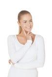 Άκουσμα με το χαμόγελο Στοκ φωτογραφία με δικαίωμα ελεύθερης χρήσης
