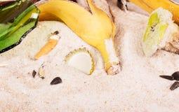 Άκρες τσιγάρων, δέρματα μπανανών και άλλα σκουπίδια στην κινηματογράφηση σε πρώτο πλάνο άμμου Στοκ φωτογραφία με δικαίωμα ελεύθερης χρήσης