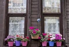 Άκρη παραθύρων σπιτιών με τα λουλούδια Στοκ Φωτογραφίες
