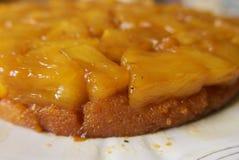 Άκρη Gooey μιας άνω πλευράς ανανά - κάτω από το κέικ που βλέπει επάνω κοντά στοκ εικόνα