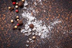 άλας πιπεριών ανασκόπηση μαγειρική Στοκ Φωτογραφία