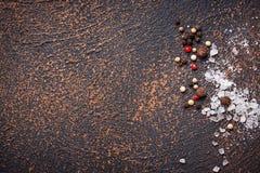 άλας πιπεριών ανασκόπηση μαγειρική Στοκ Φωτογραφίες