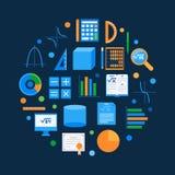 Άλγεβρα και math διανυσματικό στρογγυλό επίπεδο σύμβολο απεικόνιση αποθεμάτων