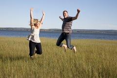Άλμα για τη χαρά Στοκ Εικόνες
