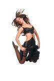 άλμα κοριτσιών χορού brunette προκλητικό Στοκ Φωτογραφίες