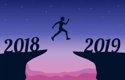 Άλμα μεταξύ του νέου έτους 2018 και 2019 Νέα έννοια έτους 2019 επίσης corel σύρετε το διάνυσμα απεικόνισης διανυσματική απεικόνιση