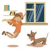 Άλμα με το μικρό κορίτσι και το σκυλί ενθουσιασμού που στέκονται πίσω ελεύθερη απεικόνιση δικαιώματος