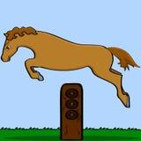 Άλογο κινούμενων σχεδίων που πηδά πέρα από ένα εμπόδιο διανυσματική απεικόνιση