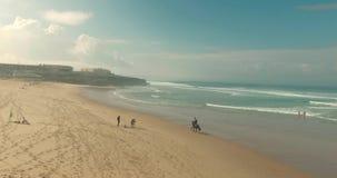 Άλογο οδήγησης ατόμων κατά μήκος της ακτής παραλιών απόθεμα βίντεο