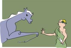 Άλογο trickster, εκπαιδευτικός αλόγων διανυσματική απεικόνιση