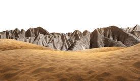 Άμμος ερήμων με το βουνό πετρών Στοκ Φωτογραφία