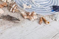 Άμμος και κοχύλια και καπέλο στο ξύλινο πάτωμα, θερινή έννοια ελεύθερη απεικόνιση δικαιώματος