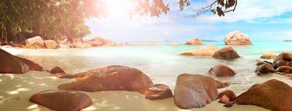 Άμμος και πέτρες λιμνοθαλασσών των Σεϋχελλών πανοράματος Στοκ Εικόνες