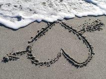 άμμος καρδιών παραλιών Στοκ Φωτογραφίες