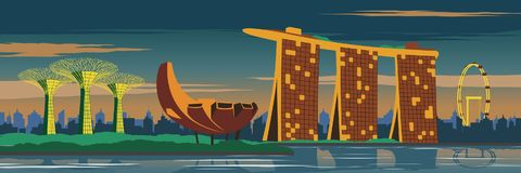 Άμμος κόλπων μαρινών, κήπος της Σιγκαπούρης, ιπτάμενο της Σιγκαπούρης και στο Sc πόλεων απεικόνιση αποθεμάτων