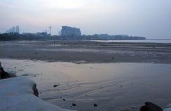 Άμπωτη της θάλασσας στην ακτή της Ασίας Στοκ Εικόνες