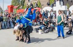 Άμστερνταμ, Κάτω Χώρες - 31 Απριλίου 2017 - η breakdancing ομάδα Ajax Άμστερνταμ που αποδίδει στην πόλη στο Ι Στοκ εικόνα με δικαίωμα ελεύθερης χρήσης
