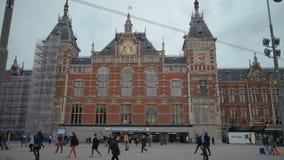 Άμστερνταμ Κάτω Χώρες 15 Οκτωβρίου 2017 Κεντρικός σταθμός του Άμστερνταμ απόθεμα βίντεο