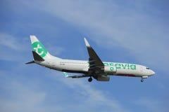 Άμστερνταμ, οι Κάτω Χώρες, Ιούλιος, 21$ο το 2016: PH-HZE Transavia Boeing 737 Στοκ φωτογραφία με δικαίωμα ελεύθερης χρήσης