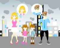 Άνδρας και γυναίκα με το αγόρι και το κορίτσι με τη μάσκα που φτερνίζονται, βήξιμο, έννοια γύρης αέρα διανυσματική απεικόνιση
