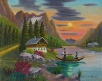 Άνδρας και γυναίκα στη βάρκα στο ηλιοβασίλεμα διανυσματική απεικόνιση