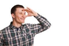 Άνδρας που απομονώνεται νεαρός στο λευκό στοκ εικόνα