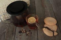 Άνεση και τσάι με το λεμόνι και τα μπισκότα Στοκ εικόνα με δικαίωμα ελεύθερης χρήσης